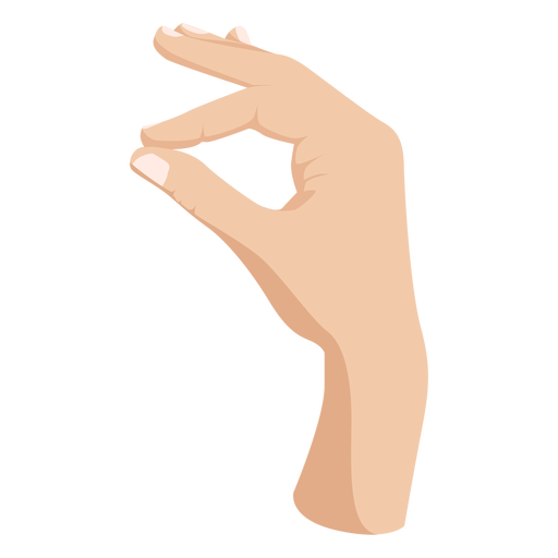 Joining thumb and index fingers hand sign semi flat