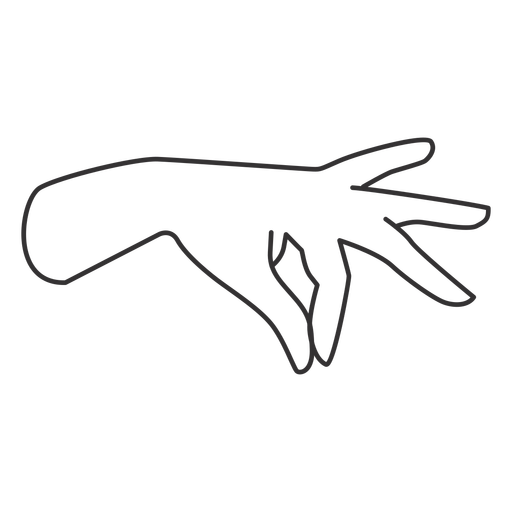 Joining thumb and index fingers hand sign stroke