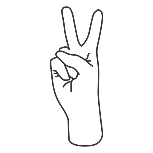 Raised index and middle finger stroke hand sign