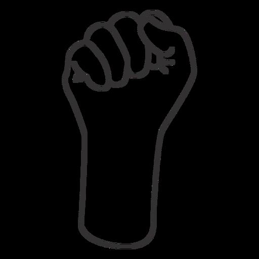 Raised fist stroke hand sign