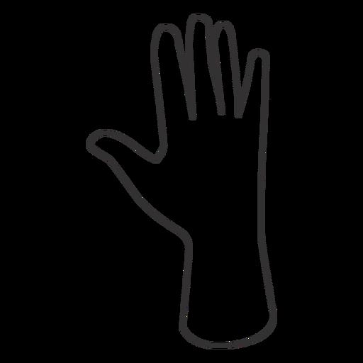 Raised open hand stroke hand sign