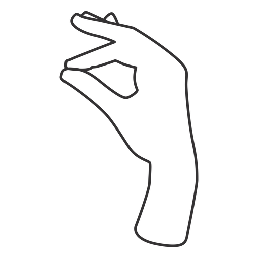 Joining thumb and index fingers stroke sign