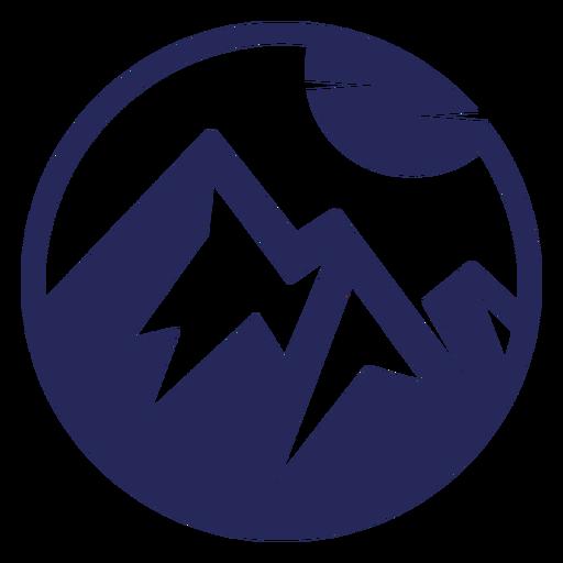 Snowy mountains and sun simple geometric badge