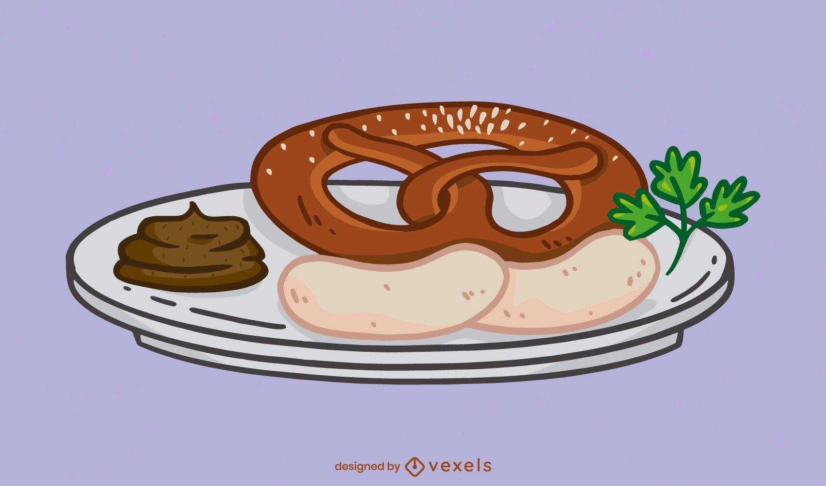 Bavarian meal with pretzel illustration