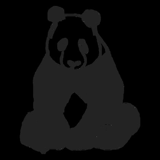Oso panda sentado plano
