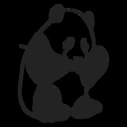 Panda fofa comendo derrame cheio