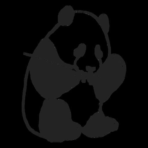 Cute panda eating filled stroke