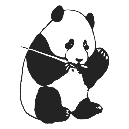 Lindo panda comiendo trazo lleno