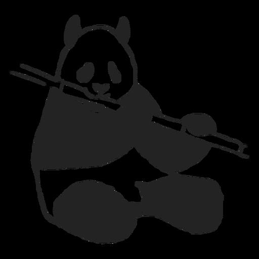 Funny panda eating bamboo
