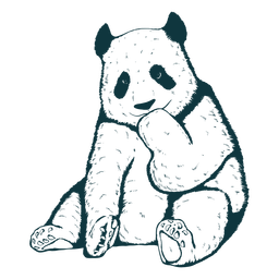 Oso panda lindo dibujado a mano