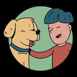 Dog and boy cartoon cute