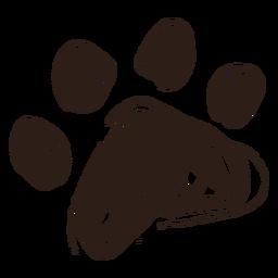 Dibujado a mano pata de perro
