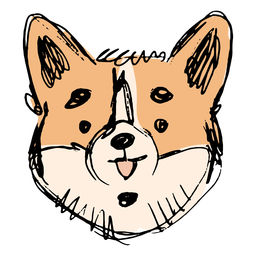 Hand drawn cute corgi face