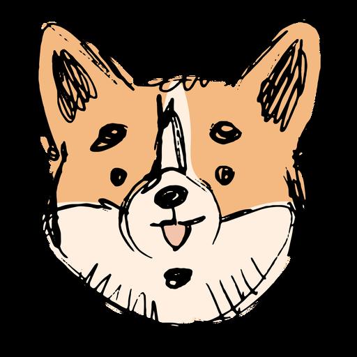 Hand drawn cute corgi face