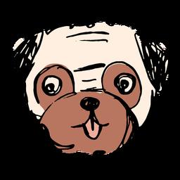 Hand drawn cute pug face