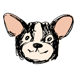 Cute hand drawn black corgi face
