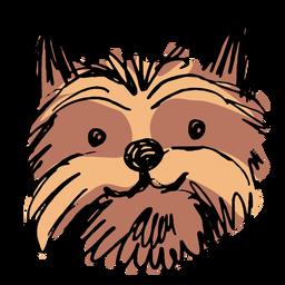 Dibujado a mano cabeza de perro yorkshire terrier