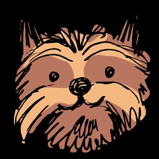 Cabeça de cachorro Yorkshire terrier desenhada à mão
