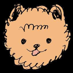 Cara dibujada a mano perro Pomerania