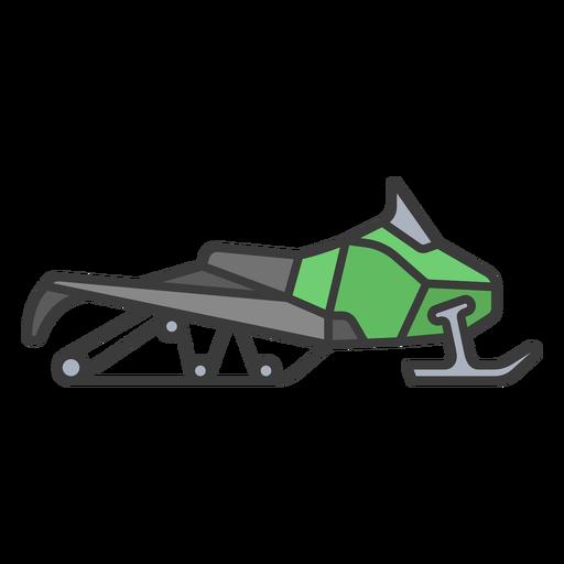 Green flat stroke snowmobile