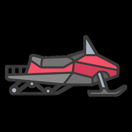 Flat stroke red snowmobile