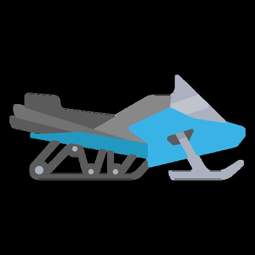 Semi flat blue snowmobile