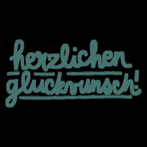 Herzlichen glückwunsch script text badge