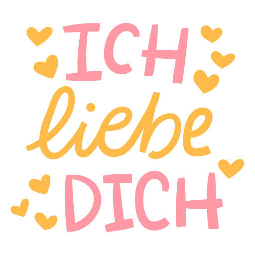 Ich liebe dich lettering badge