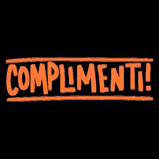 Complimenti hand written badge