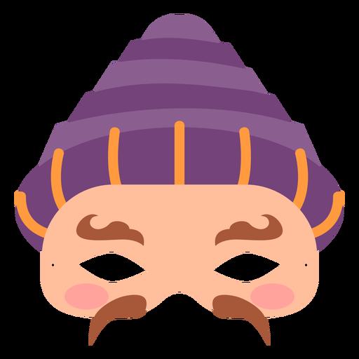 Flat mardi gras face shaped mask