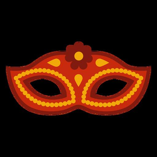 Red flower flat mardi gras mask
