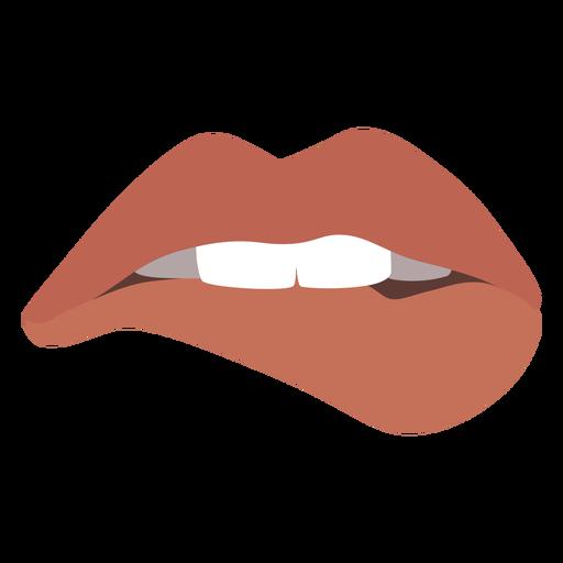 Biting lips semi flat expression