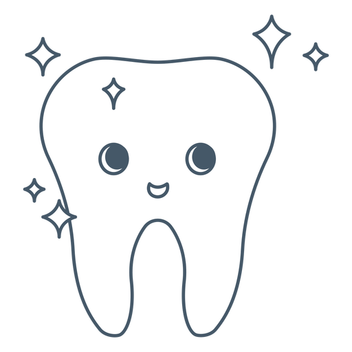 Happy tooth shiny character Transparent PNG