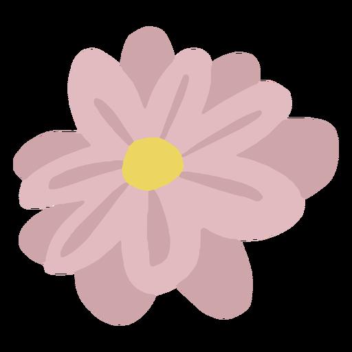 Single hand drawn pink flower