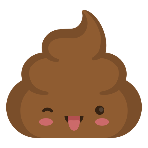 Cute poop emoji winking with tongue out