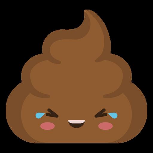 Semi flat laughing poop emoji