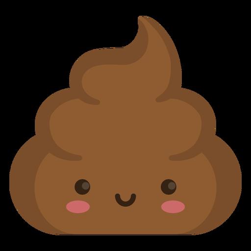 Semi flat smiloing poop emoji