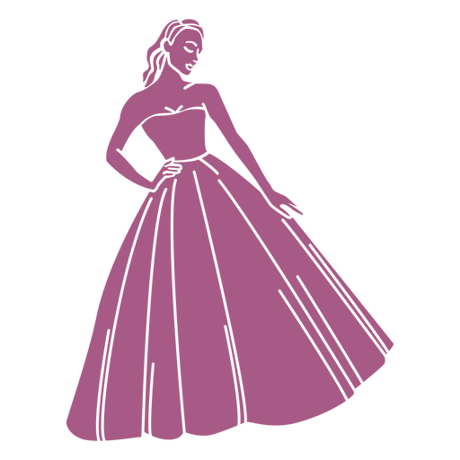 Standing girl in long dress cut out