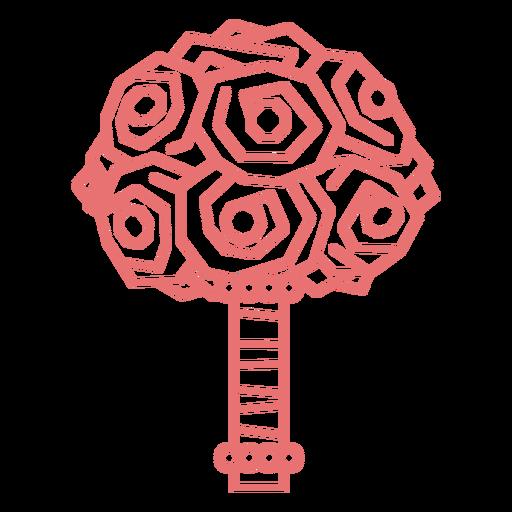 Geometric pack of roses stroke