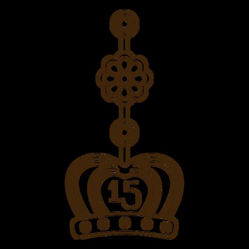15th birthday stroke crown earring
