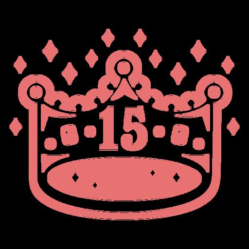 15th birthday crown filled stroke