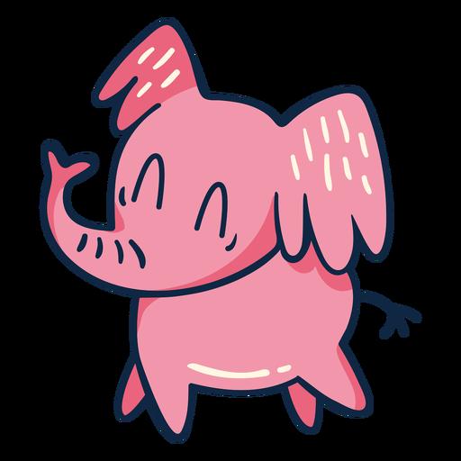 Cute walking pink elephant cartoon