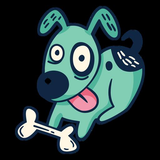 Happy dog with bone cartoon