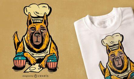 Diseño de camiseta de chef de cupcake de perro