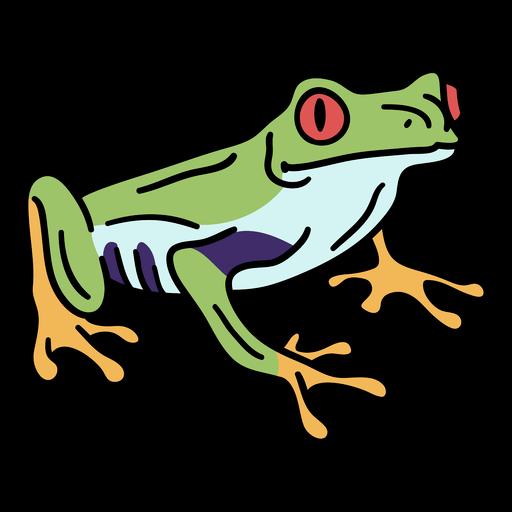 Simple color stroke tropical frog