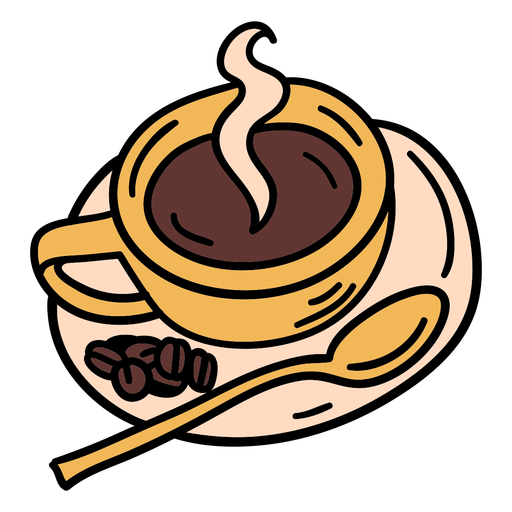 Taza de café de trazo de color con frijoles