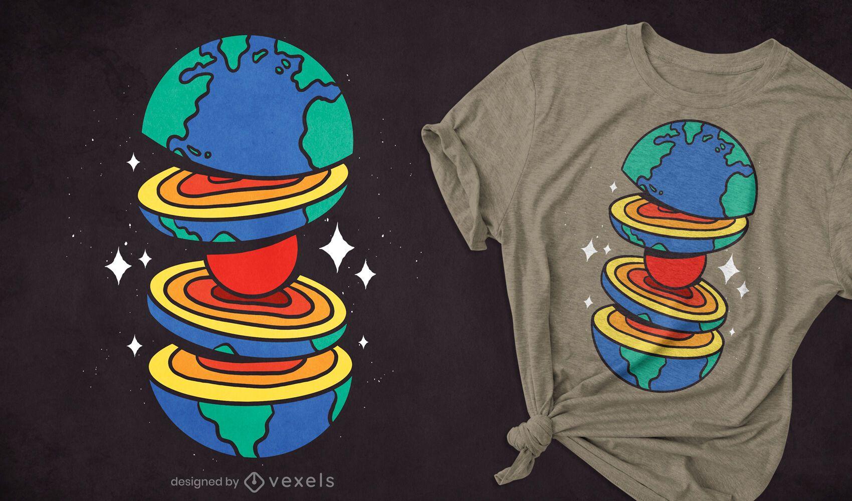 Corte o design de camisetas terrestres
