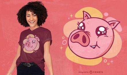 Diseño de camiseta linda cara de cerdo