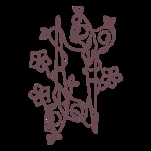 Stroke scissors and flowers