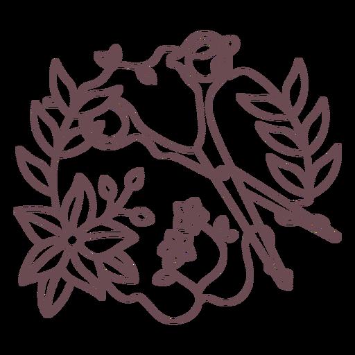 Scissors and flowers stroke